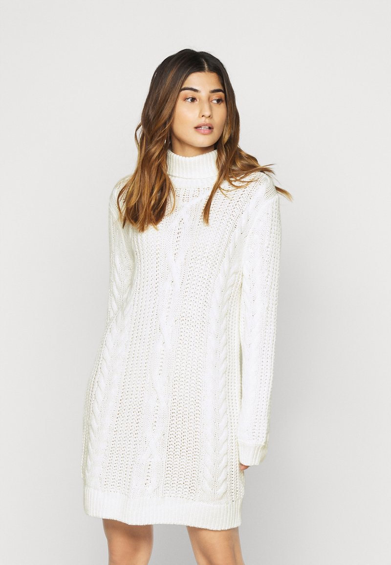 Object Petite - OBJAVA ROLLNECK DRESS - Strikket kjole - gardenia