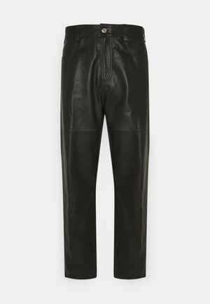TROUSERS PANT - Leather trousers - black