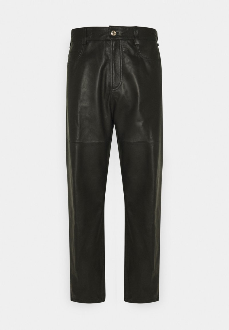 Trussardi - TROUSERS PANT - Leather trousers - black