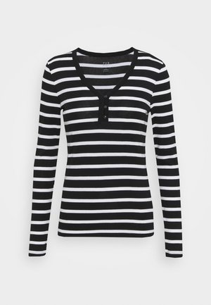 FAV HENLEY - Topper langermet - black/white