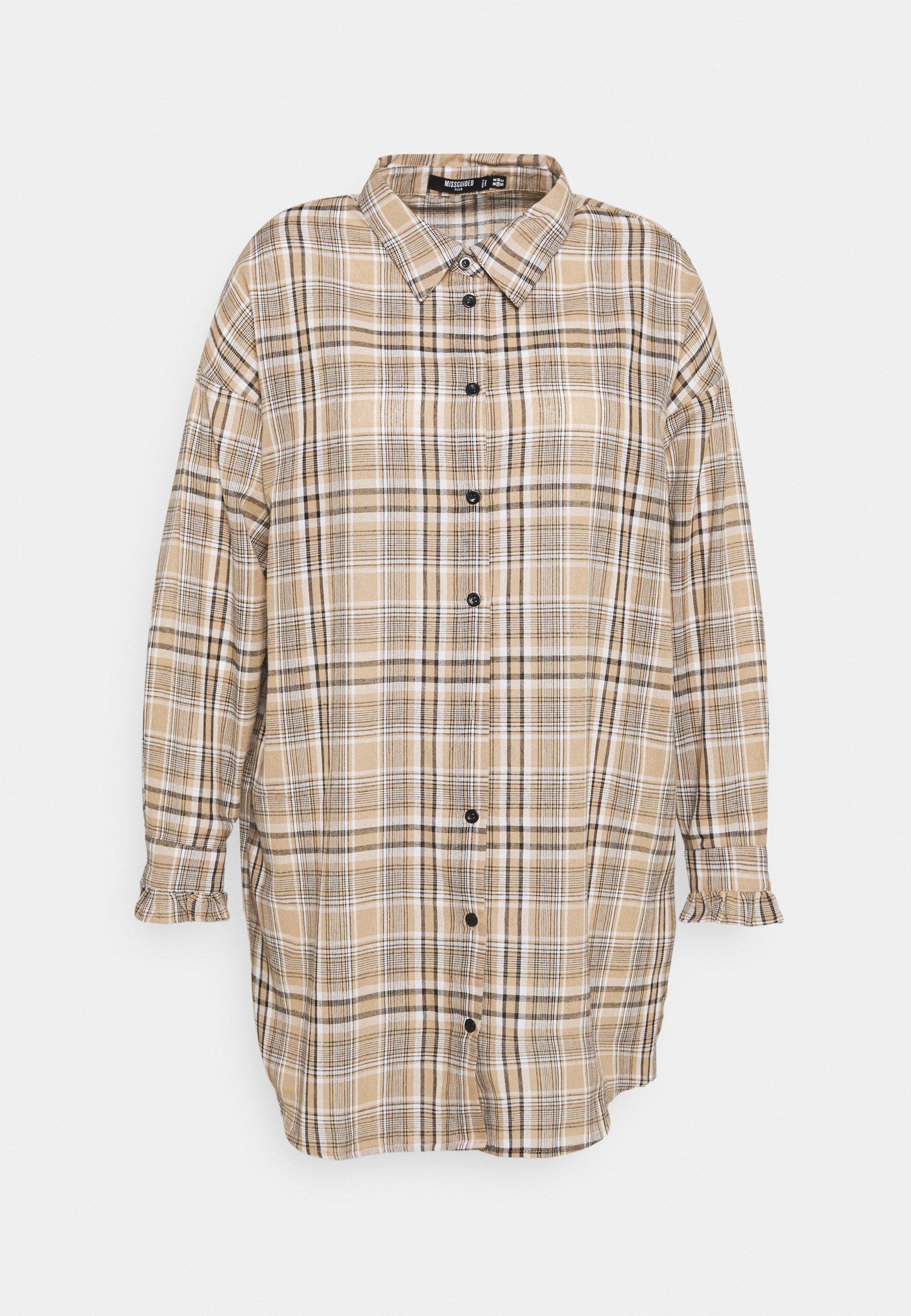 Women LONGLINE CHECKED SHIRT DRESS - Shirt dress