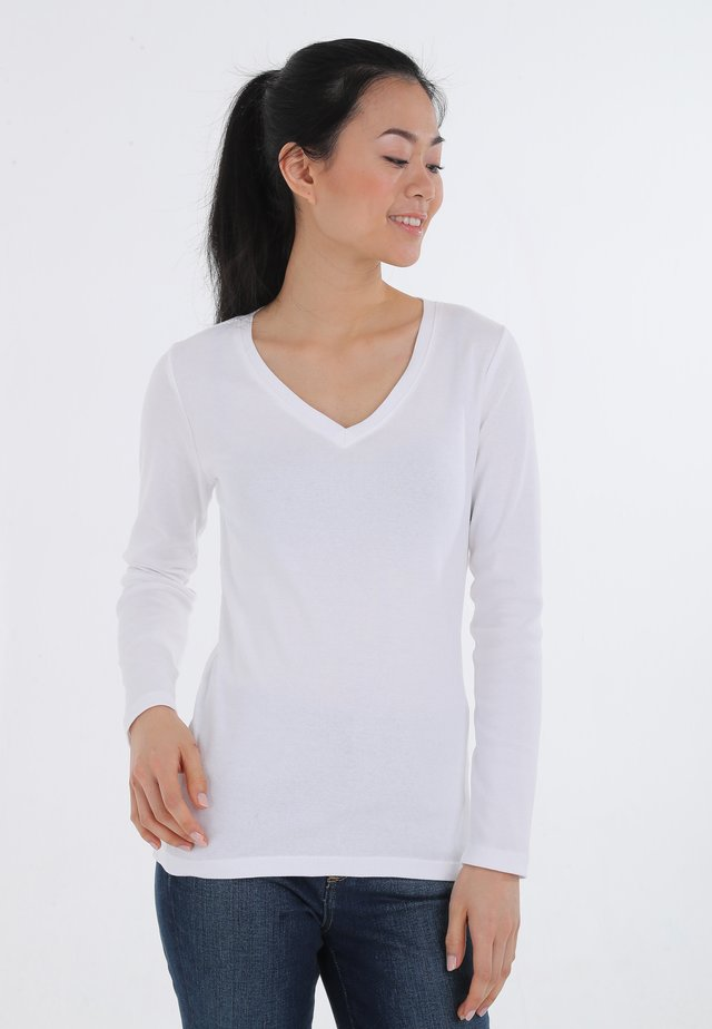 MIT V-AUSSCHNIT - Long sleeved top - white