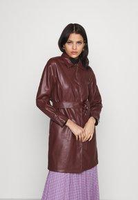 Topshop - BELTED SHAKETT - Short coat - burgundy - 0