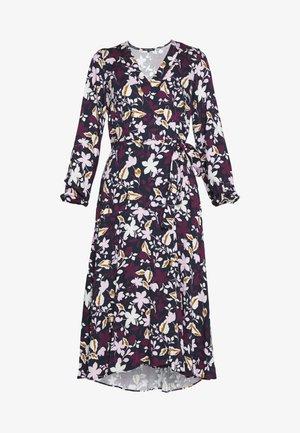 DRESS WRAP STYLE BELTED WAIST LONG SLEEVE - Day dress - multi/night sky