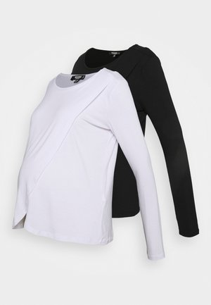 NURSING LONG SLEEVE 2 PACK - Long sleeved top - white/black