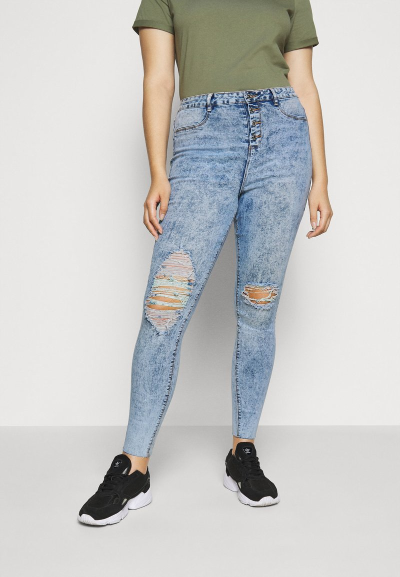 Missguided Plus - BUTTON FRONT LAWLESS - Jeans Skinny Fit - acid wash