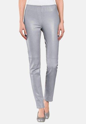 Leather trousers - hellgrau