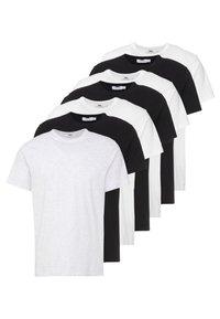 Topman - 7 PACK - T-paita - black/white/light grey melange - 0