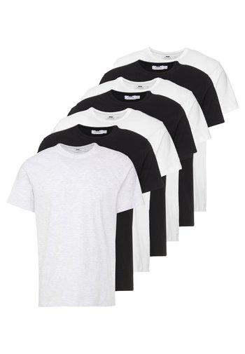 7 PACK - T-paita - black/white/light grey melange