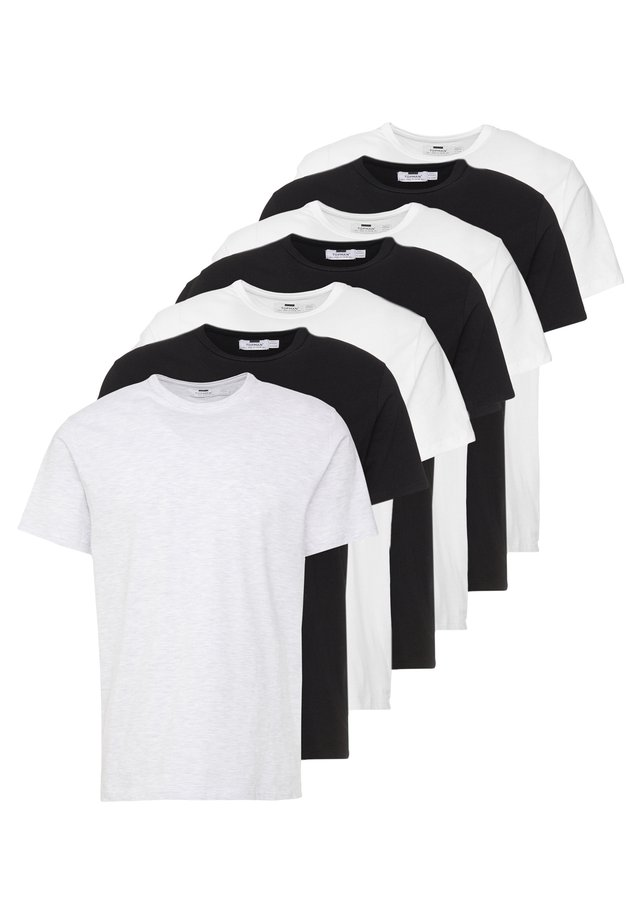 7 PACK - T-shirt - bas - black/white/light grey melange