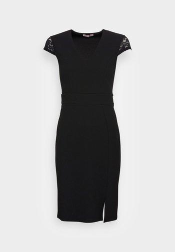 LACE CAP SLEEVES POLYCREPE OCCASION MINI DRESS (AN-AW21-C007-SJ) - Cocktail dress / Party dress - black