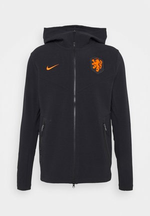 NIEDERLANDE KNVB HOODIE  - Huvtröja med dragkedja - black/safety orange