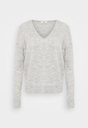 JDYELANORA V NECK - Jumper - light grey melange