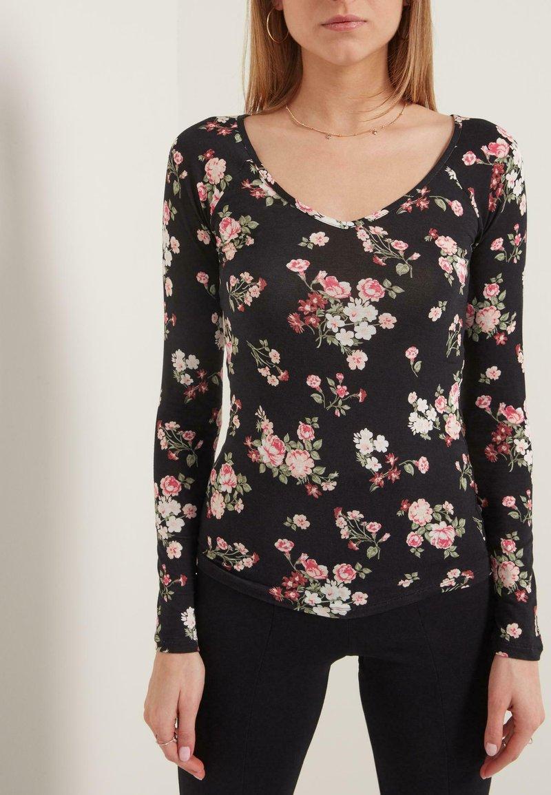 Tezenis - Long sleeved top - nero st.romantic flowers