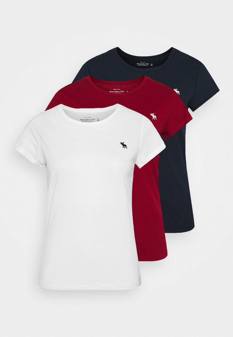 Abercrombie & Fitch - CREW HOLIDAY 3 PACK - Basic T-shirt - white/red/navy blue