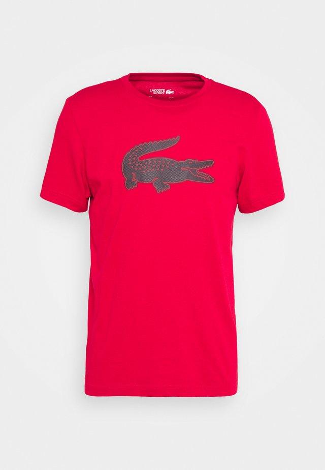 BIG LOGO - Print T-shirt - ruby/navy blue