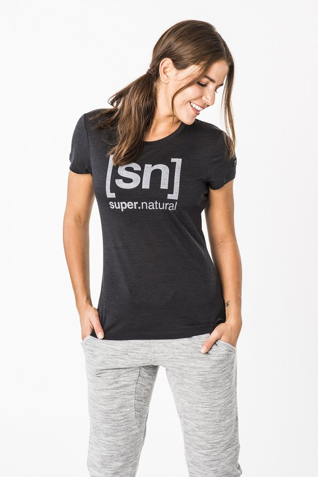 W ESSENTIAL  - Print T-shirt - black/grey