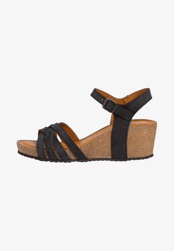 Wedge sandals - black nubuc