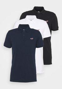 3 PACK - Polo shirt - white/navy/black