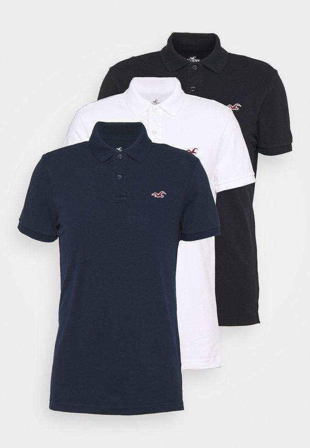 3 PACK - Piké - white/navy/black