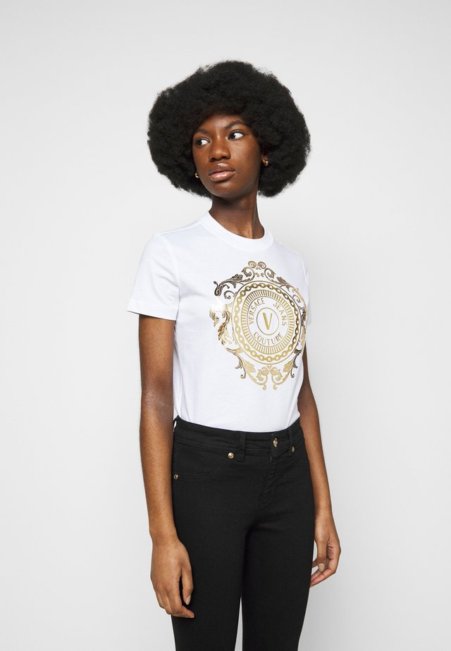 Print T-shirt - optical white/gold