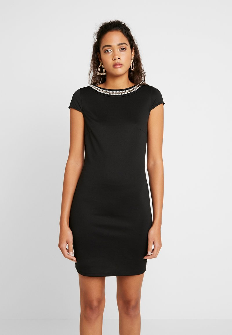 Vila - VISABINE CAPSLEEVE PEARL DRESS - Korte jurk - black