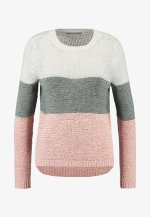 ONLGEENA - Sweter - cloud dancer/chinois green/rose