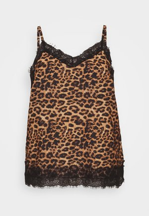 ANIMAL LACE TRIM CAMI - Top - black