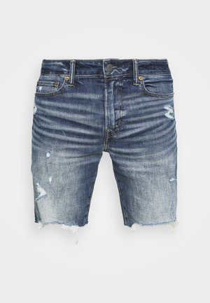 INDIGO CUT OFF NO CUFF - Džínové kraťasy - medium wash