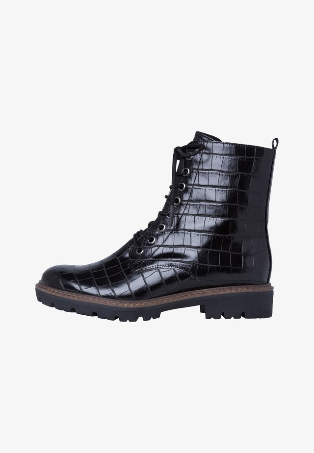 STIEFELETTE - Lace-up ankle boots - black croco
