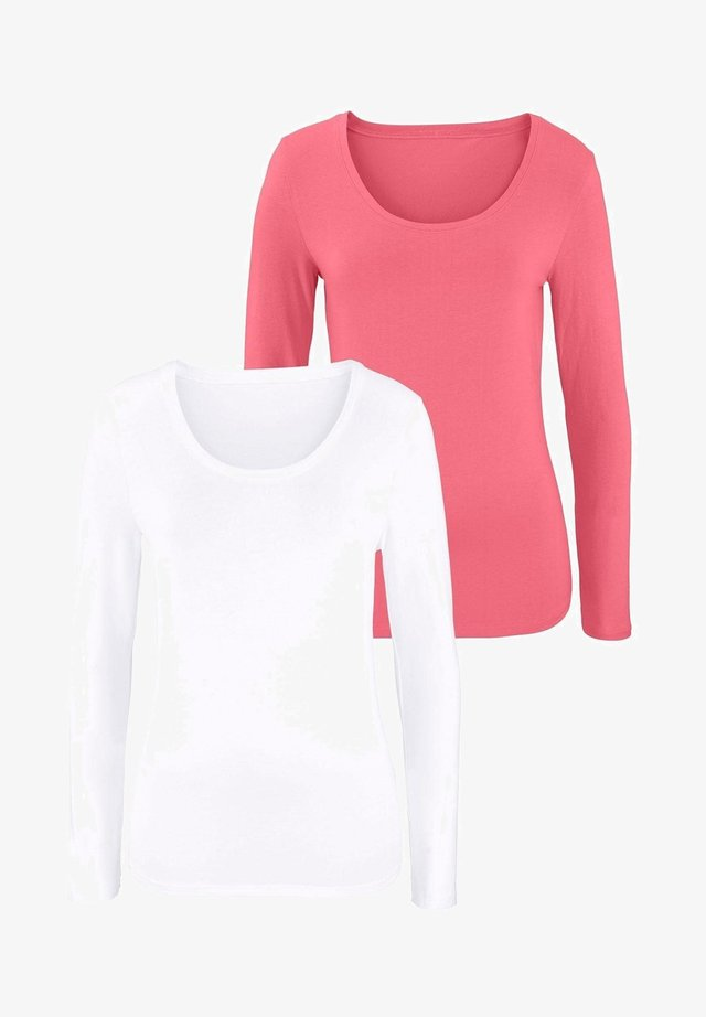 2 PACK - Long sleeved top - apricot weiß