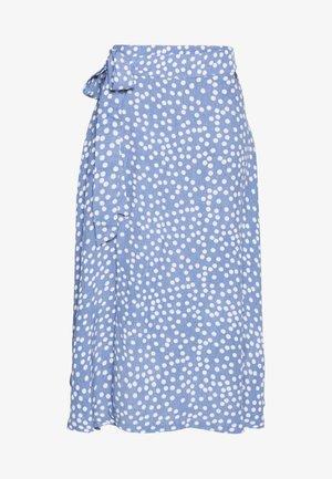 JASMIN SKIRT - Wrap skirt - waterblue/chalk big funny dots