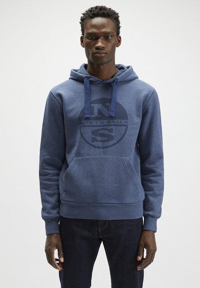 Hoodie - denim blue melange