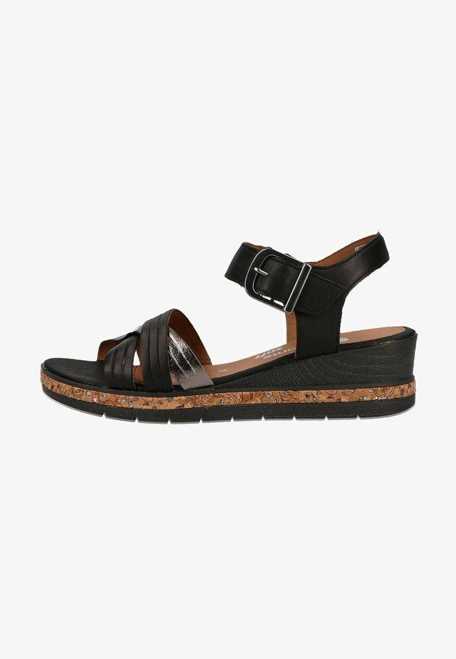 Sandalen met sleehak - schwarz/altsilber / 01