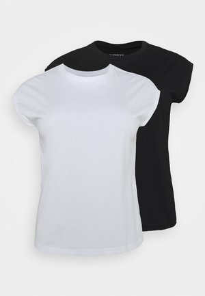 2ER PACK - Basic T-shirt - black/white