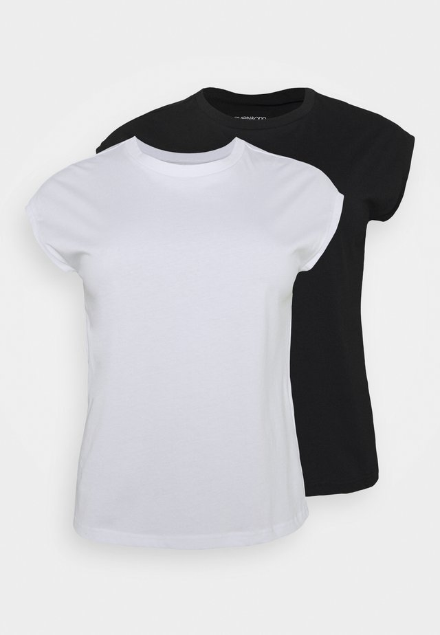 2ER PACK - T-shirt basique - black/white