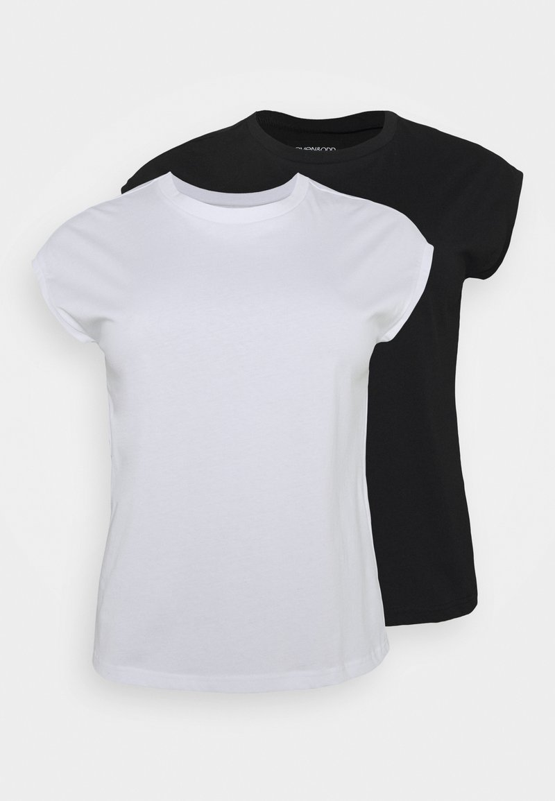 Even&Odd - 2ER PACK - Basic T-shirt - black/white