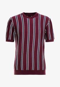 Topman - STRIPE CREW - T-shirt basic - burgundy - 3