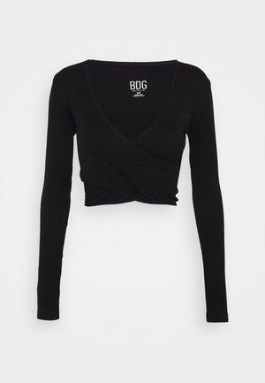 SEAMLESS BALET WRAP - Bluzka z długim rękawem - black