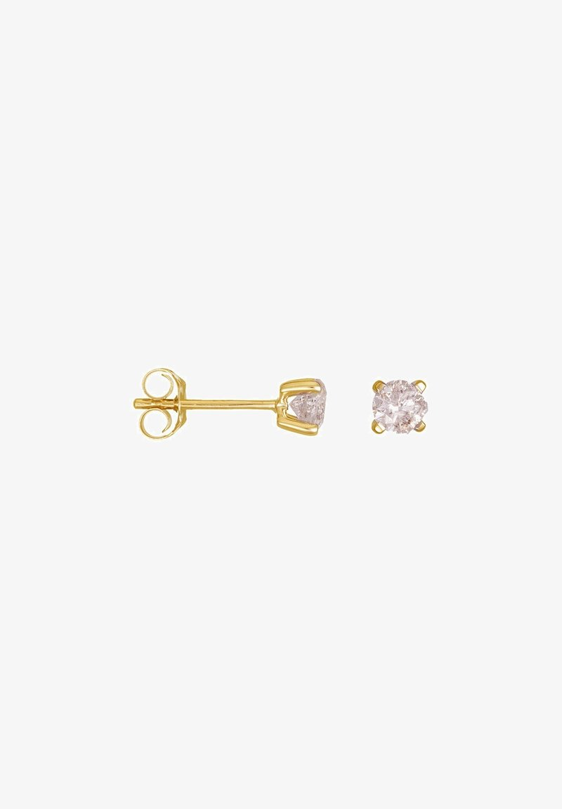 Mes Bijoux - 9K YELLOW GOLD S EARRINGS CERTIFIED 2 SOLITAIRES HSI 0.4 CT - Earrings - yellow