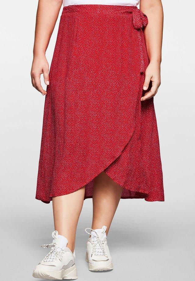 A-line skirt - mohnrot bedruckt