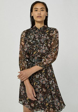FLORAL PRINT ON BLACK BACKGROUND VOILE WITH METALLIC - Blousejurk - noir