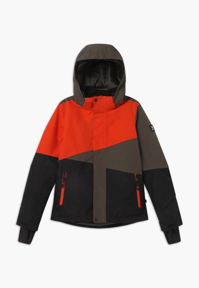 IDAHO BOYS - Snowboard jacket - black/red/khaki