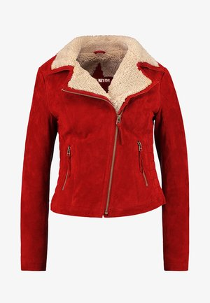 TEDDY STAR  - Leather jacket - biking red/birch