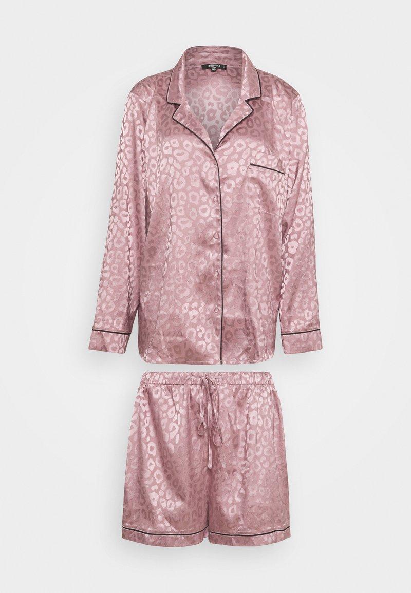Missguided - PLUS SIZE PREMIUM ANIMAL SHIRT AND SHORT SET - Pyjamas - mauve