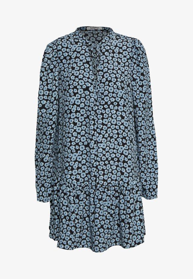 MINI V NECK TIER FLORAL DRESS - Sukienka letnia - dusty blue mini