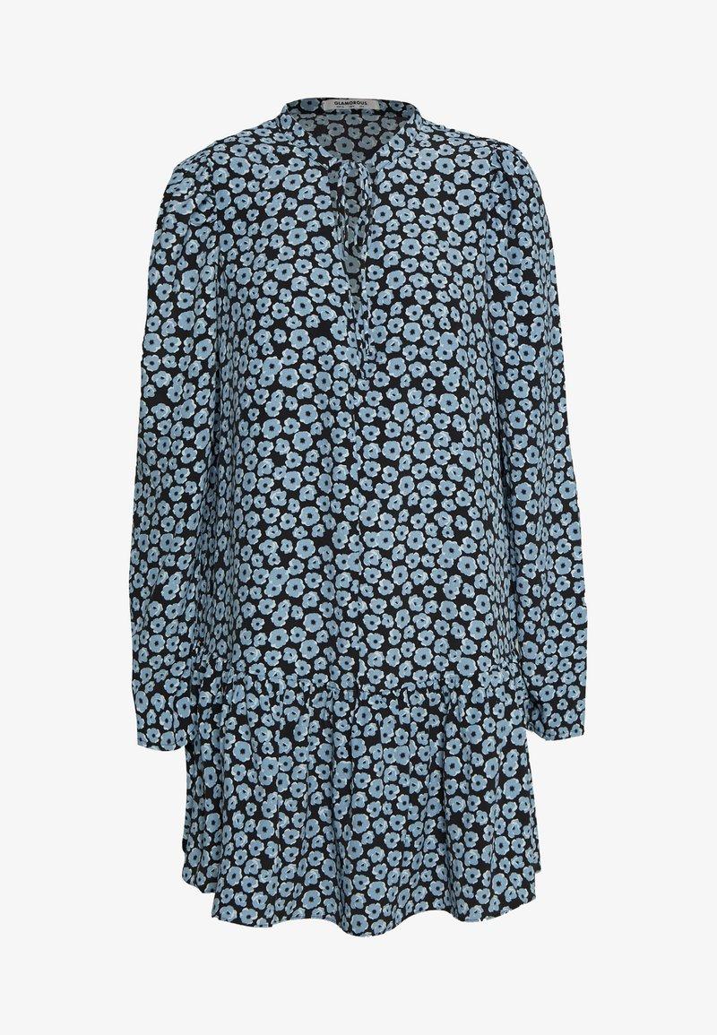 Glamorous - MINI V NECK TIER FLORAL DRESS - Day dress - dusty blue mini