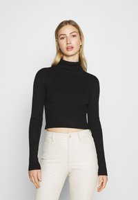 Even&Odd - 2-PACK-CROPPED TURTLE NECK - Jumper - black/sand - 2