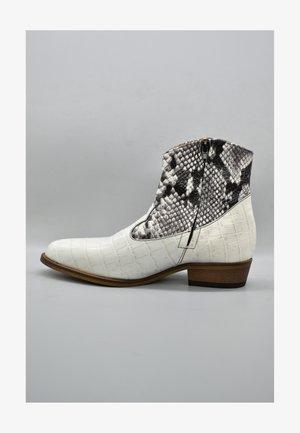 Cowboy/biker ankle boot - monochrome croco