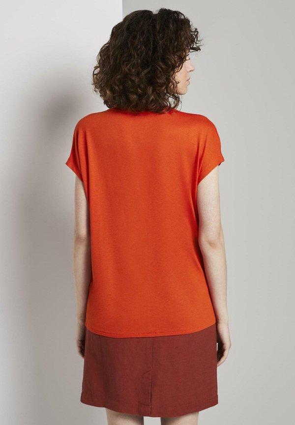 TOM TAILOR MIT HENLEY-AUSSCHNITT - Bluzka - strong flame orange/pomarańczowy LTCT
